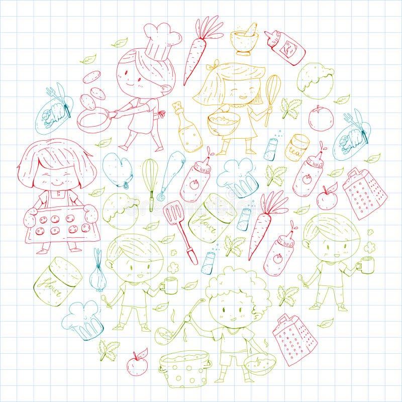 Menu di bambini, caffè dei bambini, ristorante Asilo e scuola materna, ragazzi di scuola e ragazze Alimento e bevanda sani forno illustrazione di stock