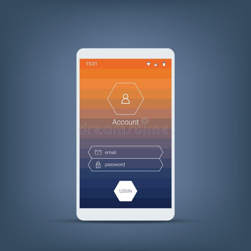 Menu di connessione di Smartphone Interfaccia utente mobile con le icone del fondo e di esagono di pendenza, bottoni illustrazione di stock