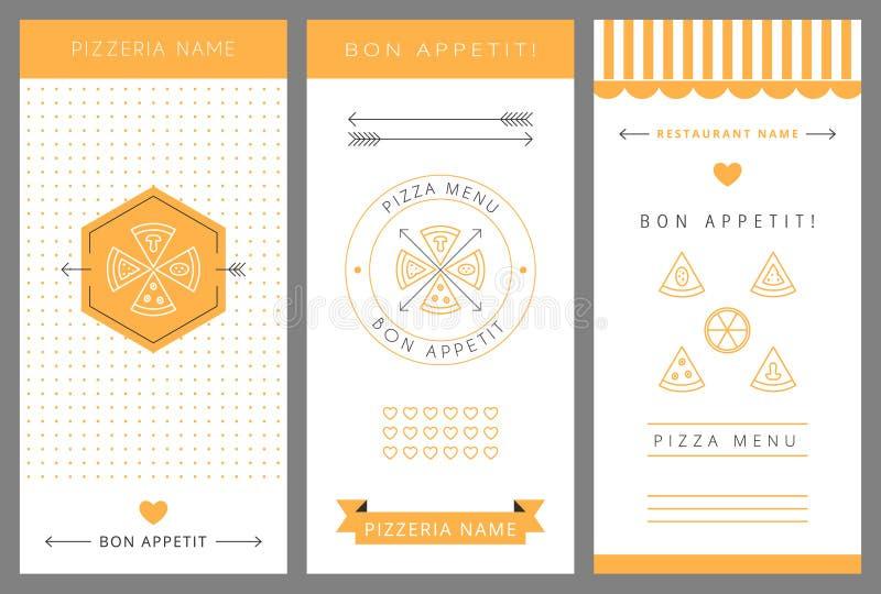 Menu di disegno Pizza illustrazione di stock