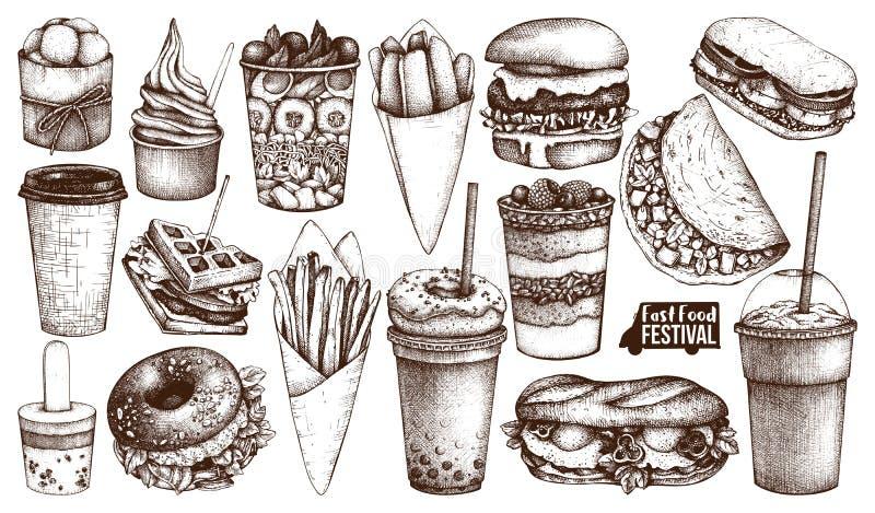 Menu di festival dell'alimento della via Raccolta d'annata di schizzo Insieme degli alimenti a rapida preparazione per il logo, i illustrazione vettoriale