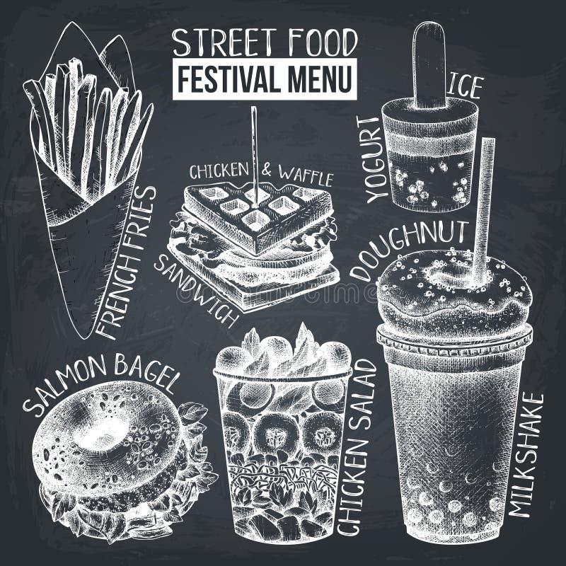 Menu di festival dell'alimento della via Raccolta d'annata di schizzo Insieme degli alimenti a rapida preparazione Progettazione  illustrazione vettoriale