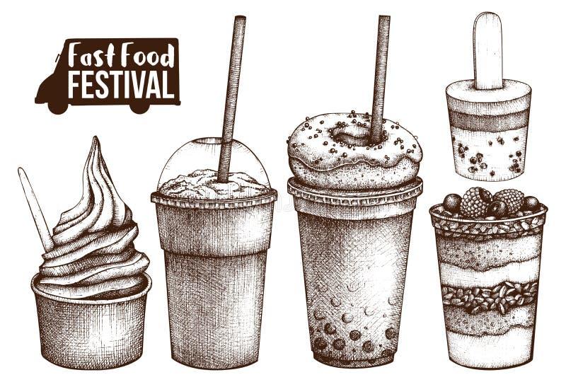 Menu di festival dell'alimento della via Raccolta d'annata di schizzo Insieme degli alimenti a rapida preparazione Progettazione  illustrazione di stock