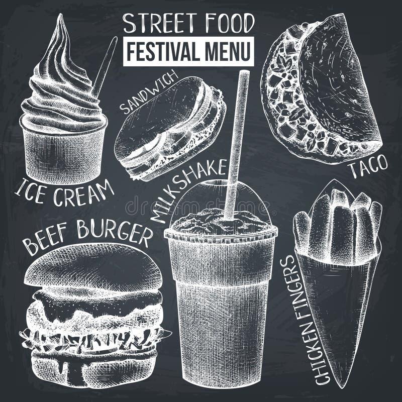 Menu di festival dell'alimento della via Raccolta d'annata di schizzo Insieme degli alimenti a rapida preparazione sulla lavagna  illustrazione di stock