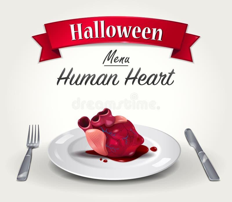 Menu di Halloween - cuore umano royalty illustrazione gratis