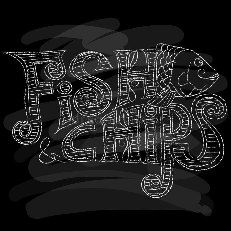Menu di pesce e patate fritte Gesso su una lavagna Illustrazione di vettore immagine stock