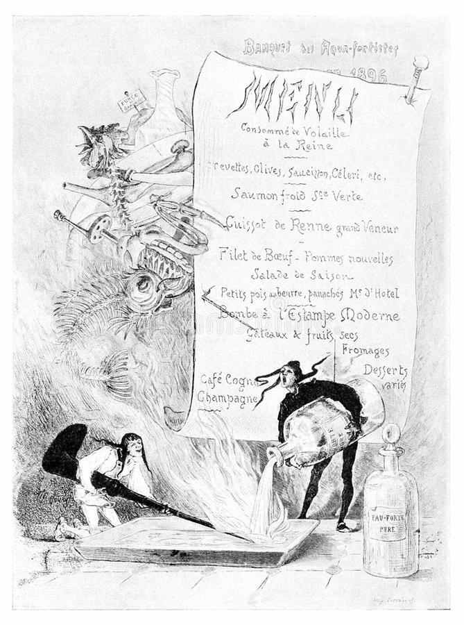 Menu dla Etcher's bankieta obraz royalty free