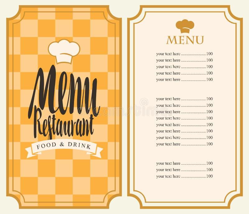 Menu dla restauraci z ceny listą i toque ilustracji