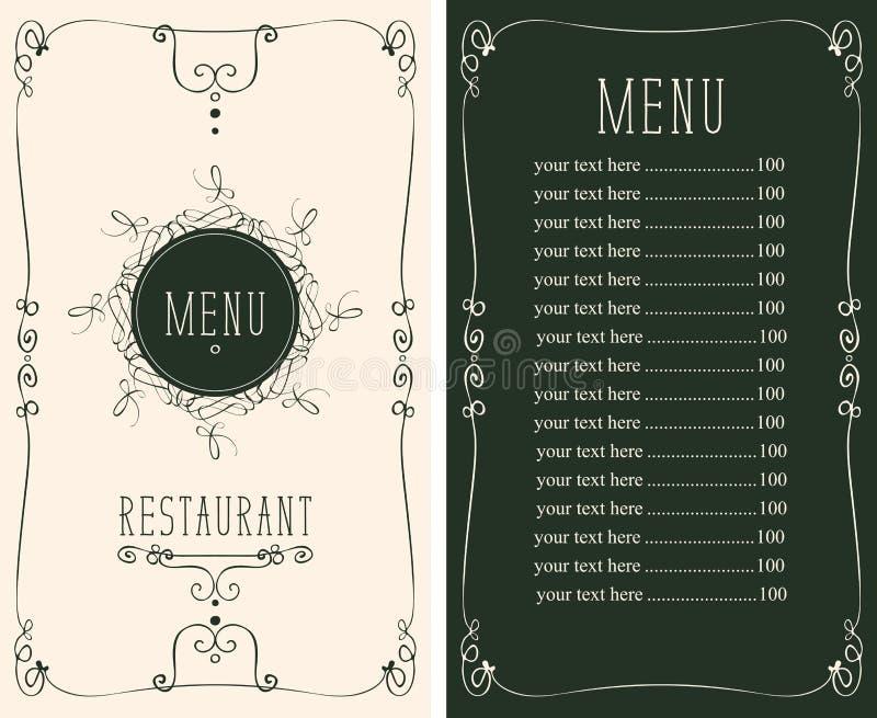 Menu dla restauraci z curlicues i ceny listą ilustracja wektor