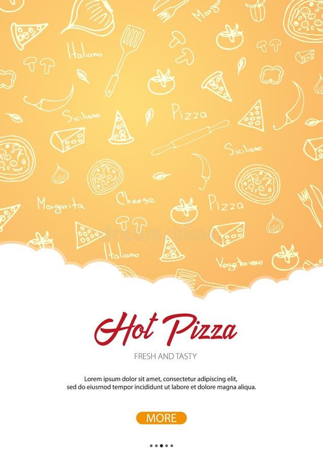Menu do alimento da pizza para o restaurante e o café Cartaz com elementos gráficos desenhados à mão no estilo da garatuja Ilustr ilustração stock