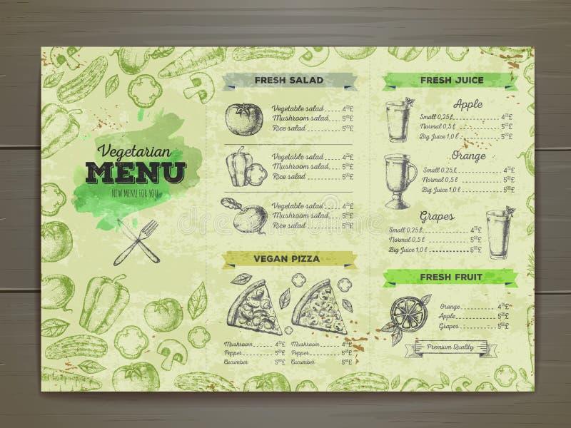 Menu do alimento do vegetariano do vintage ilustração stock