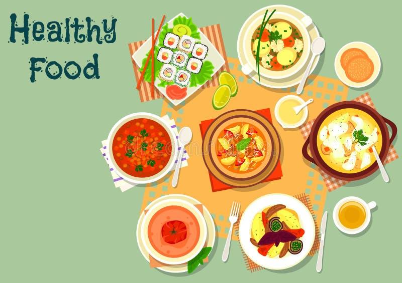 Menu do almoço com ícone do rolo de sushi da sopa e dos salmões ilustração do vetor