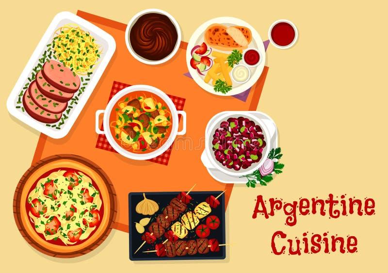 Menu do almoço da culinária de Argentina com ícone da sobremesa ilustração do vetor