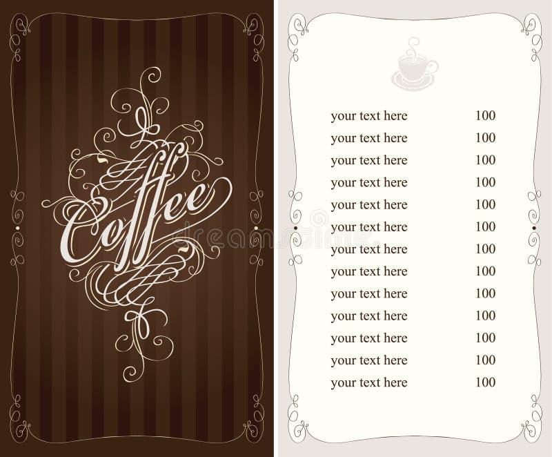 Menu do café ilustração do vetor