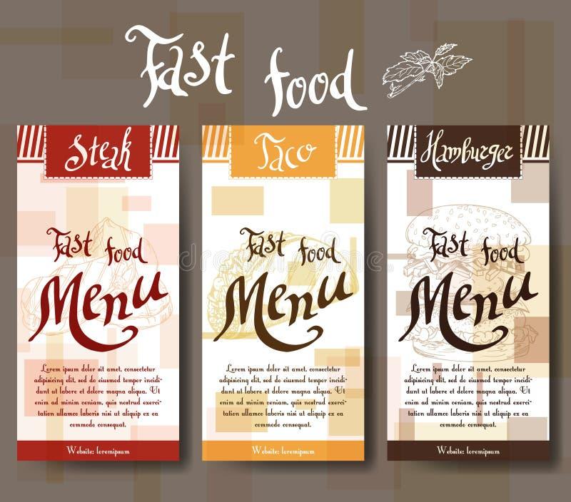 Menu do café com projeto tirado mão Molde do menu do restaurante do fast food Grupo de cartões para a identidade corporativa Ilus ilustração royalty free
