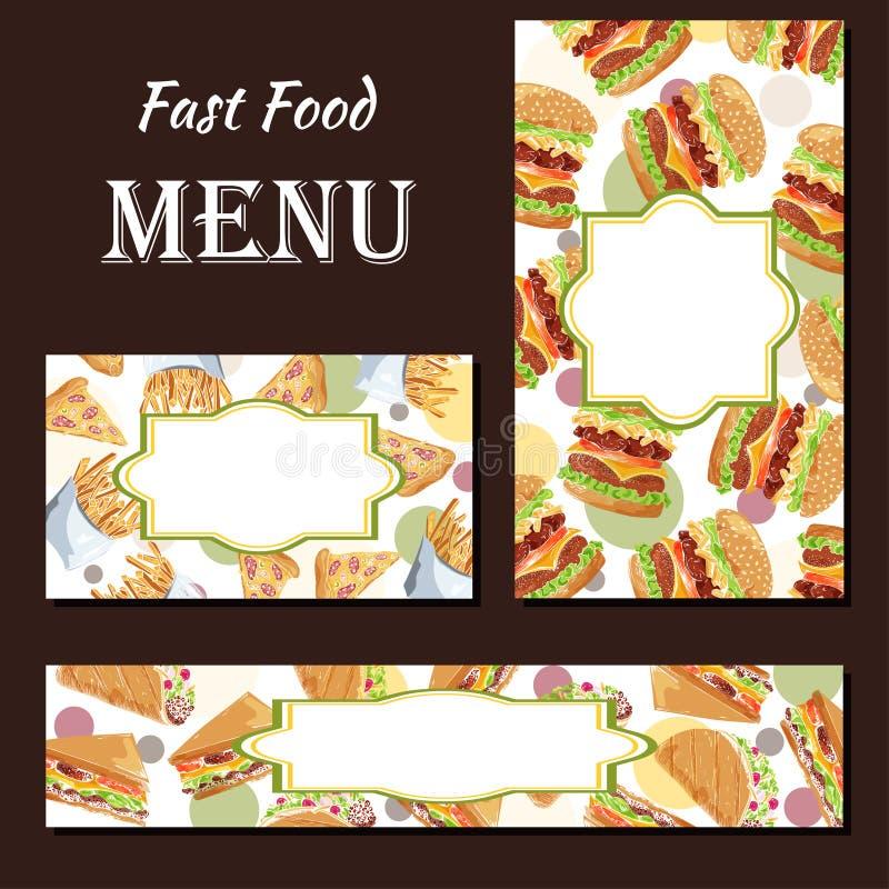 Menu do café com projeto tirado mão Molde do menu do restaurante do fast food Grupo de cartões para a identidade corporativa Ilus ilustração stock