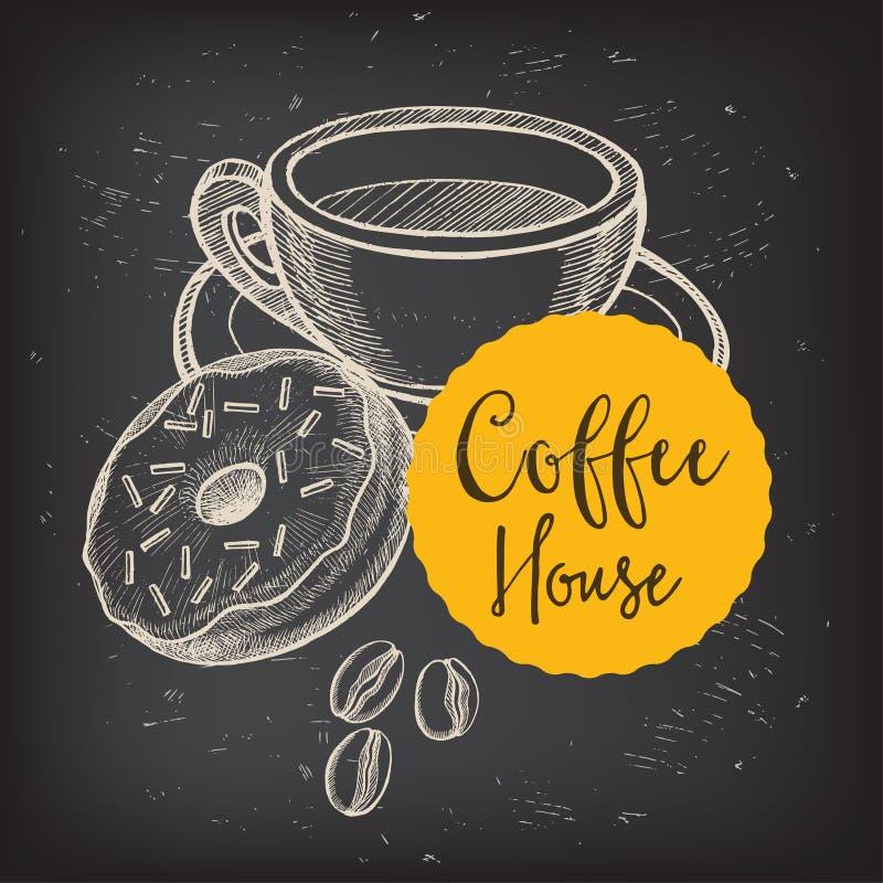 Menu do café do restaurante do café, projeto do molde ilustração royalty free