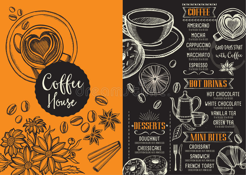 Menu do café do restaurante do café, projeto do molde ilustração do vetor