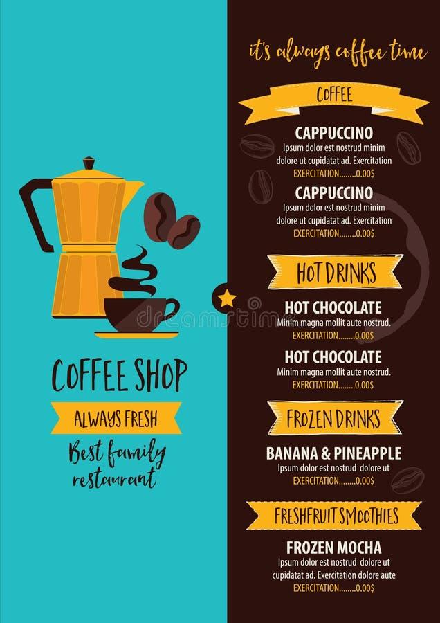 Menu do café do restaurante do café, projeto do molde da placa do chá ilustração royalty free