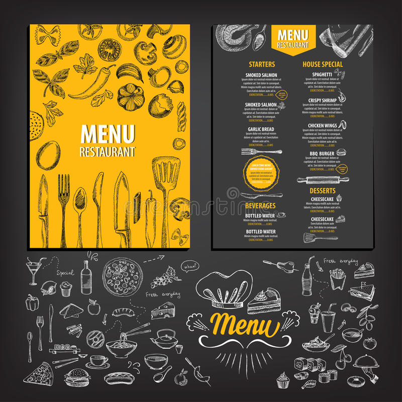Menu do café do restaurante, projeto do molde ilustração stock