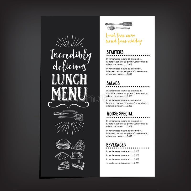 Menu do café do restaurante, projeto do molde ilustração do vetor