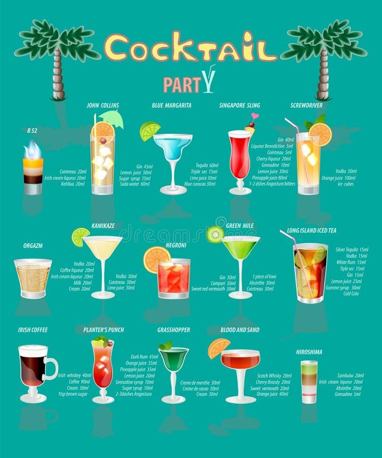 Menu do cocktail, que consiste em bebidas populares ilustração royalty free