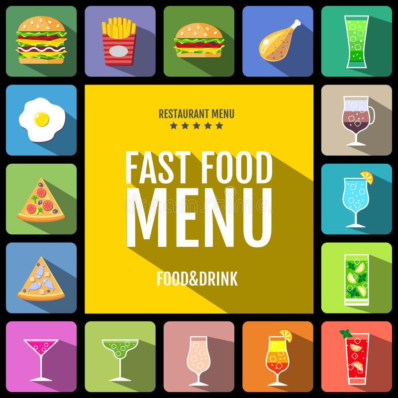 Menu do fast food Grupo de ícones do alimento e das bebidas Projeto liso do estilo ilustração stock