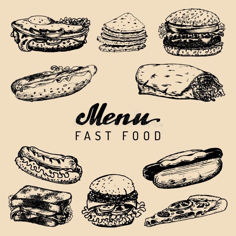 Menu do fast food no vetor Os hamburgueres, cachorros quentes, imprensam ilustrações Snack bar, restaurante da rua, ícones do caf ilustração stock