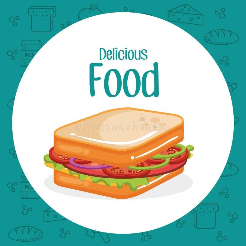 Menu do fast food do sanduíche ilustração stock