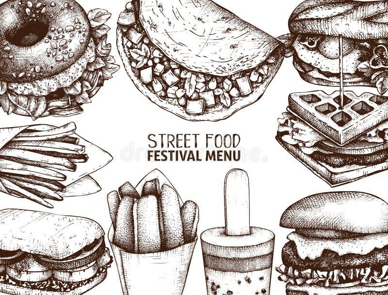 Menu do festival do alimento da rua Coleção do esboço do vintage Projeto gravado fast food do estilo Desenho do vetor para o logo ilustração do vetor