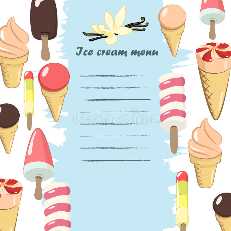 Menu do gelado ilustração do vetor