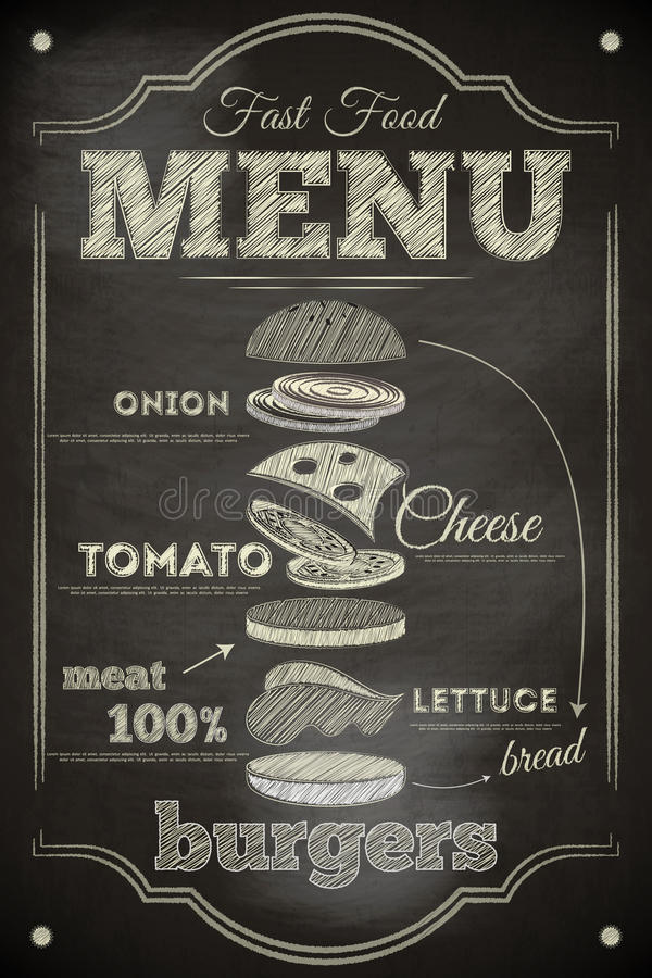 Menu do hamburguer ilustração do vetor