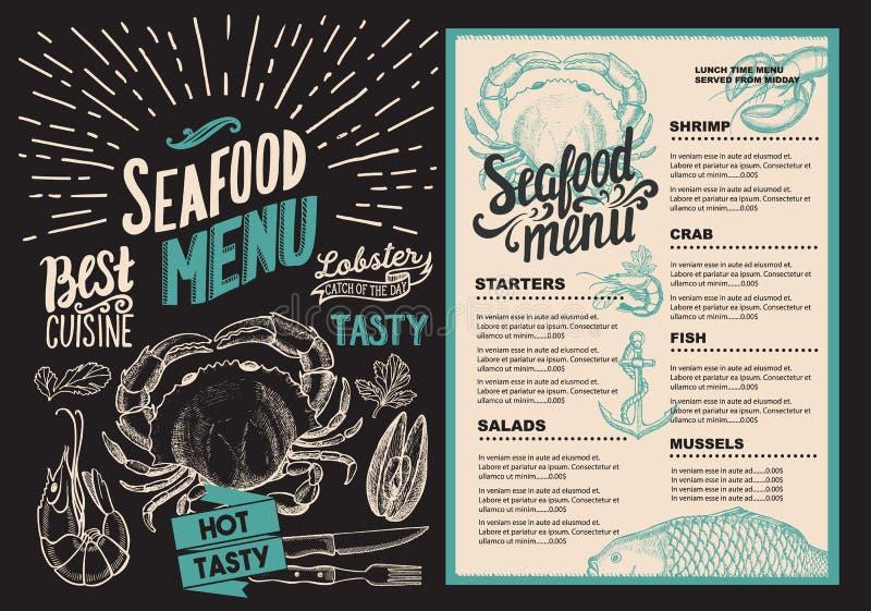 Menu do marisco para o restaurante Inseto do alimento para a barra e o café Projeto ilustração royalty free