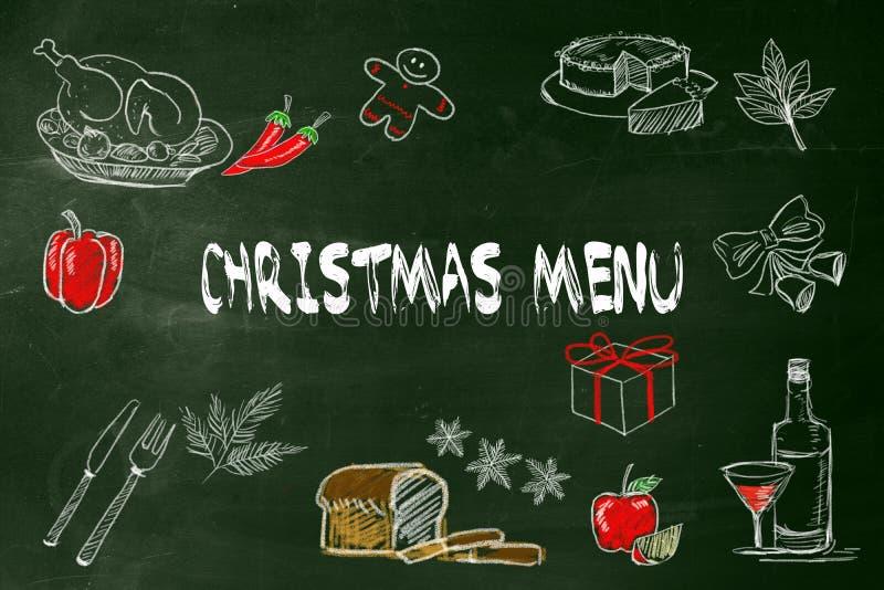 Menu do Natal com imagem do desenho da mão um alimento para o menu do Natal no quadro verde imagem de stock