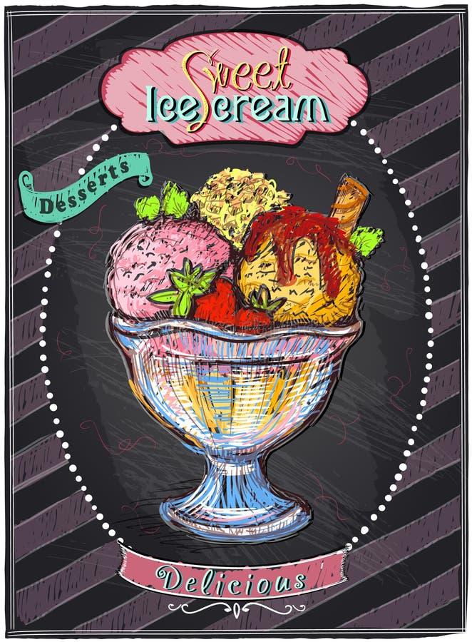 Menu do quadro do gelado ilustração stock