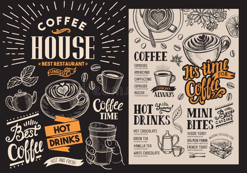 Menu do restaurante do café Inseto da bebida do vetor para a barra e o café ilustração royalty free