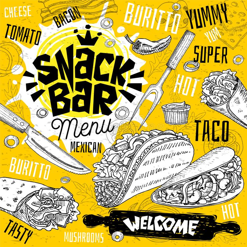 Menu do restaurante do café do snack bar Mexicano, taco, cartões do cartaz do fast food do burrito para o café da barra ilustração stock