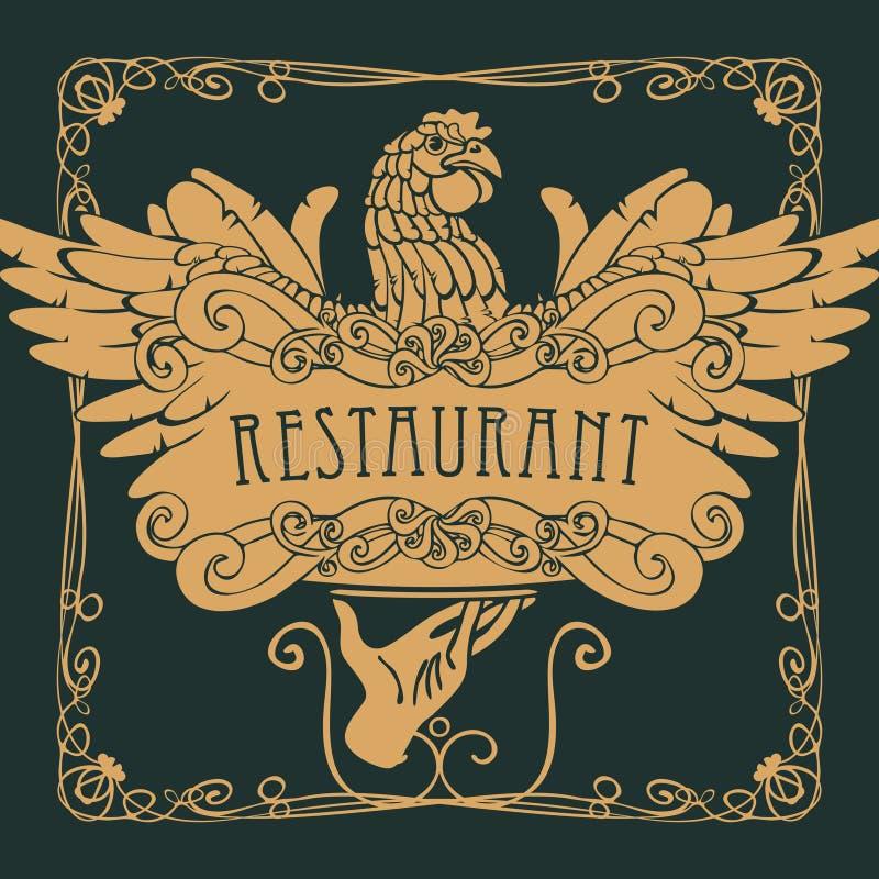 Menu do restaurante com a mão, a bandeja e a galinha ilustração stock
