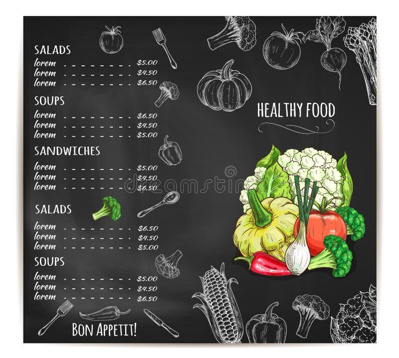 Menu do restaurante com os vegetais no quadro ilustração do vetor