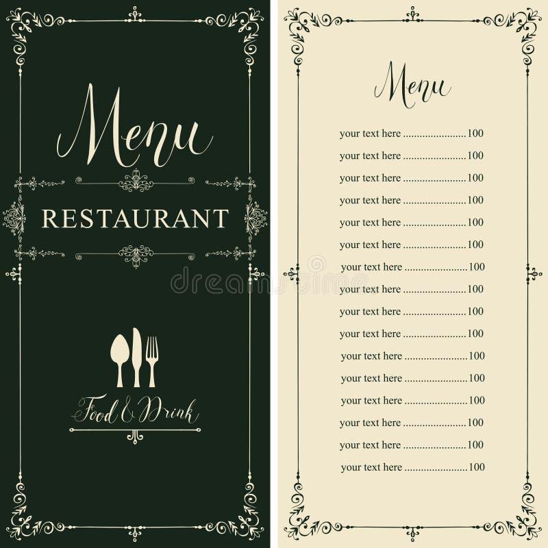 Menu do restaurante com tabela de preços no estilo retro ilustração do vetor