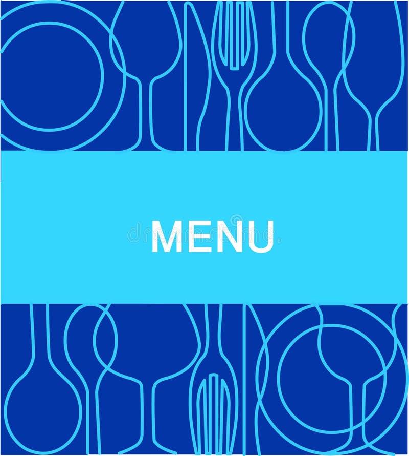 Menu do restaurante com um fundo no azul -2 ilustração royalty free