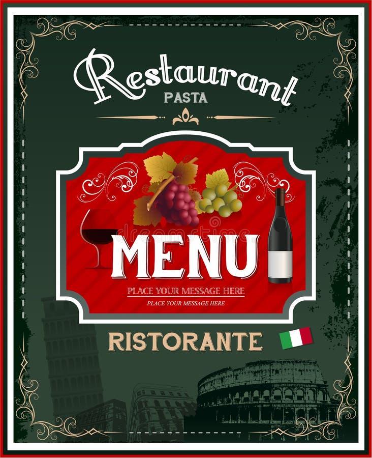 Menu do restaurante do vintage e projeto italianos do cartaz ilustração do vetor
