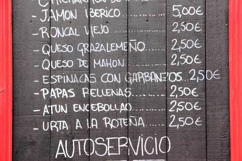 Menu espanhol da culinária imagem de stock