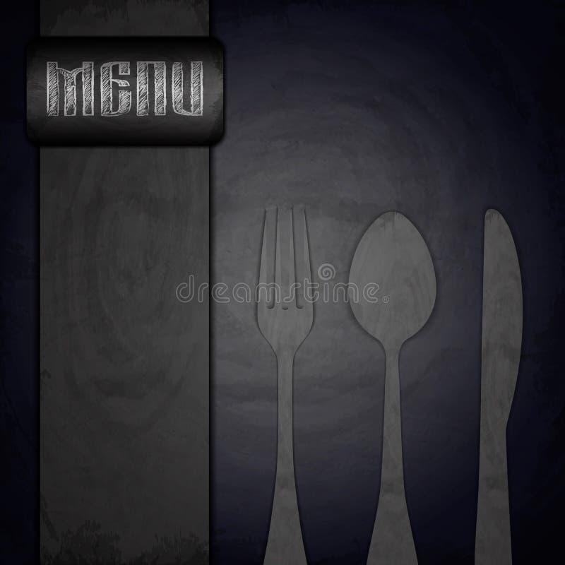 Menu do restaurante no fundo preto do quadro ilustração do vetor