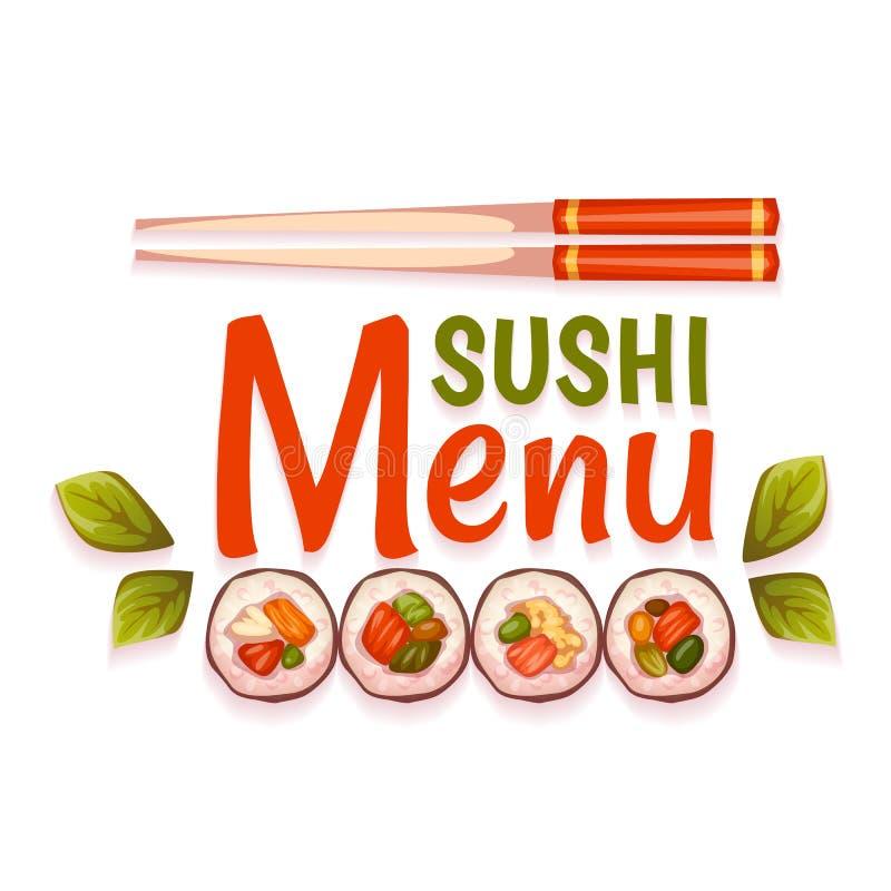 Menu do sushi para o restaurante Ilustração do vetor ilustração do vetor