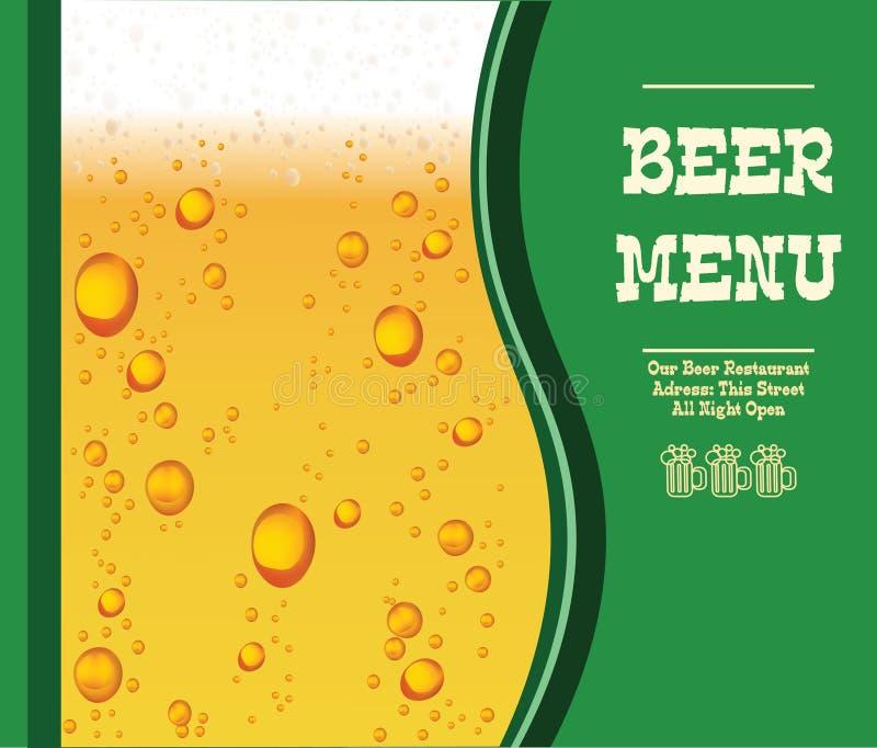 Menu do vetor com gotas da cerveja no fundo verde Molde esp 10 ilustração stock