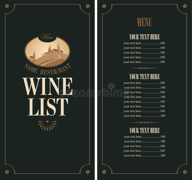 Menu do vinho ilustração royalty free