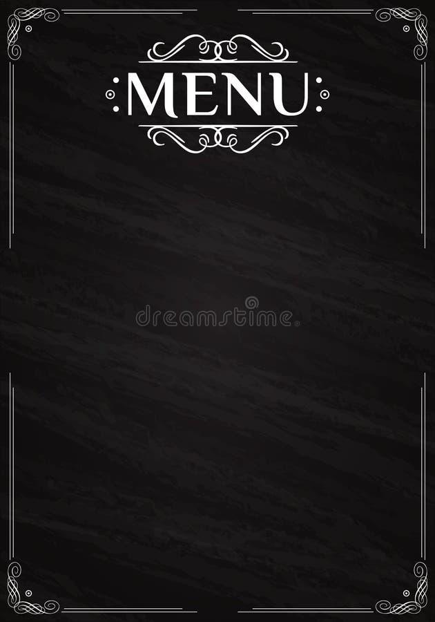Menu do vintage escrito com giz em um quadro-negro ilustração stock