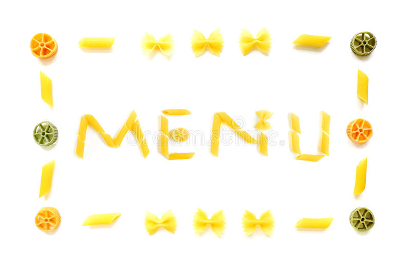 Menu in dried pasta shapes stock photos