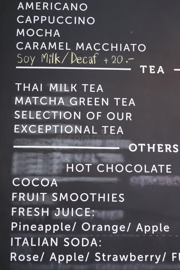 menu of drink beverage on blackboard royalty free stock images
