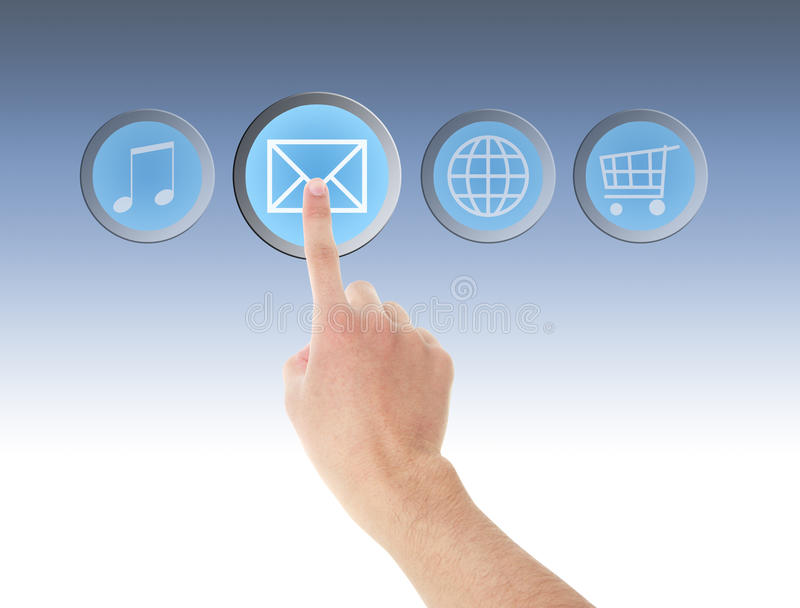Menu e mão do tela táctil do computador do ícone do email fotos de stock